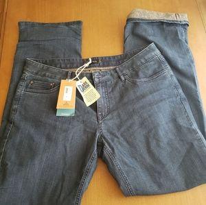 Nwt Prana indigo flanel lined boyfriend jean womens size 10/30.